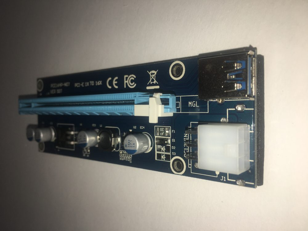 pcie powered riser with 6 pin pcie adapter