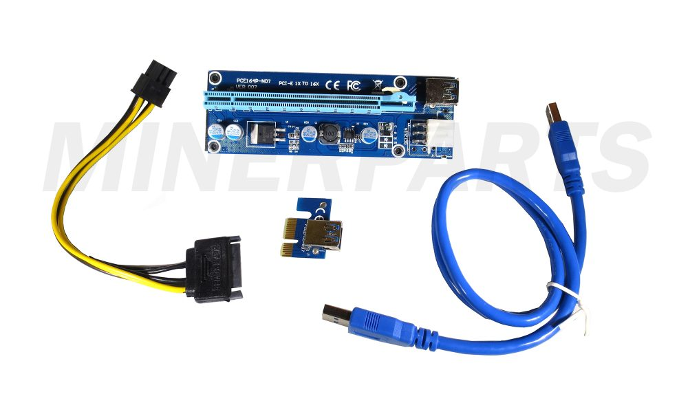 version blue pcie riser with 6 pin pcie