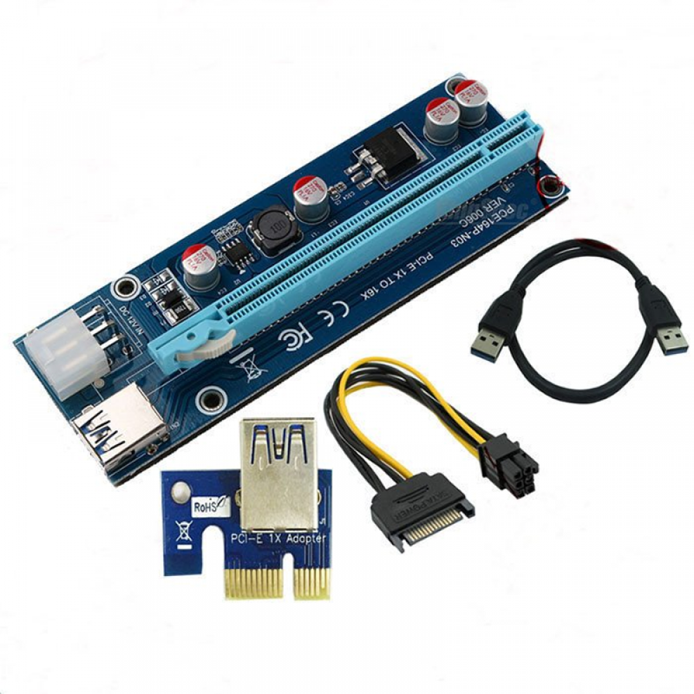 pcie powered riser version 6c usb 3 0 pcie 1x to 16x extender card