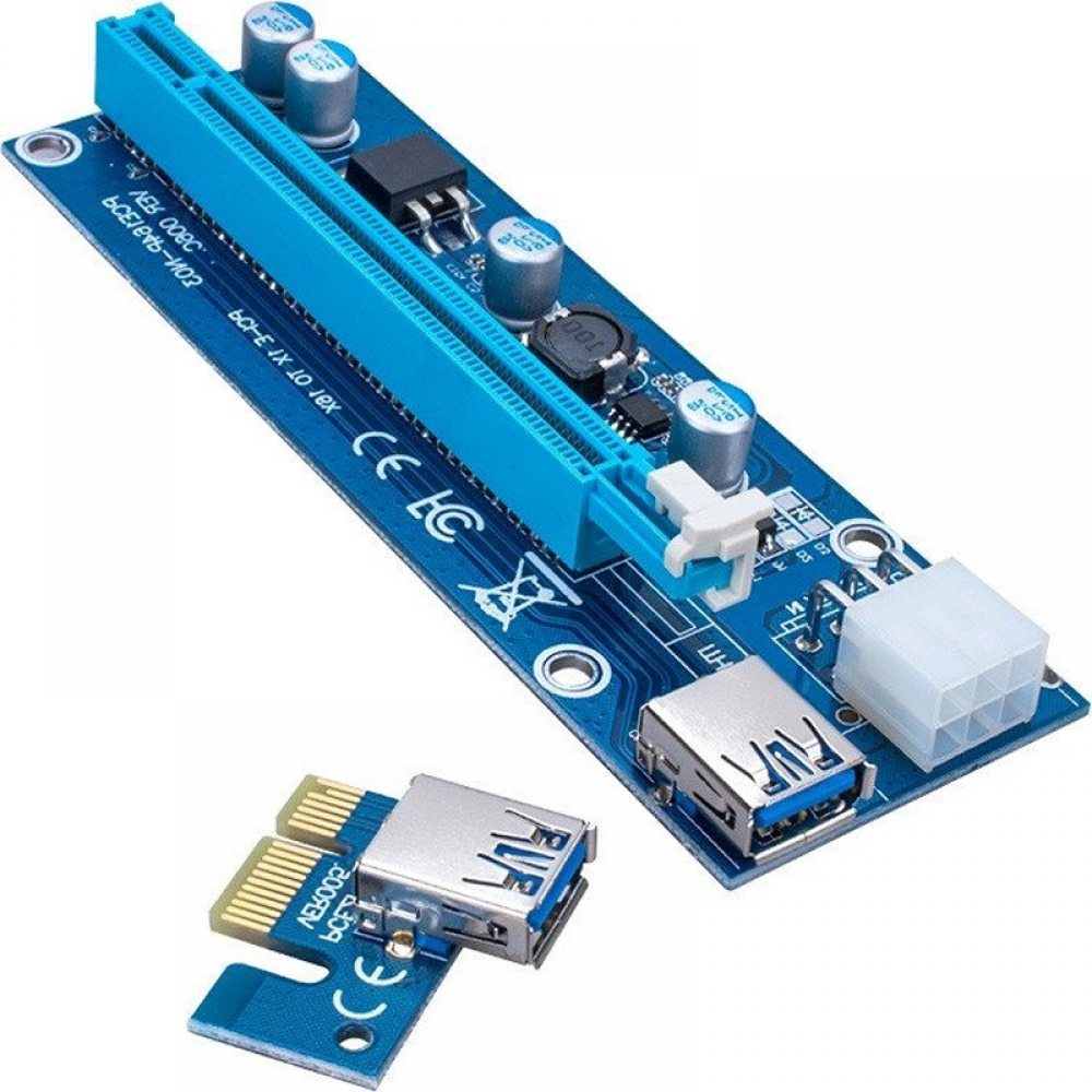 6 pack pcie powered riser version 6c with 6 pin pcie and sata